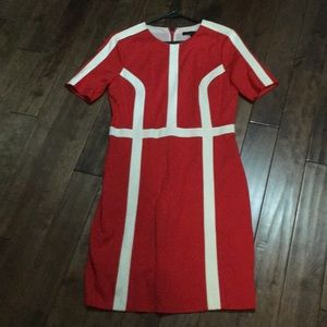 Cynthia Steffe red and white dress.